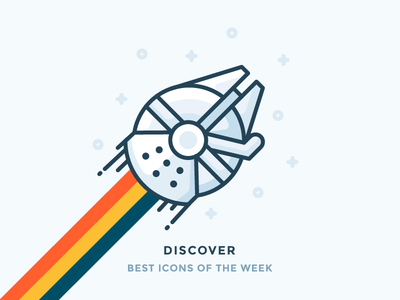 Best icons of the week! han solo galaxy fly rainbow illustration outline icon starts spaceship star wars falcon millennium