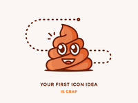 Don't Fall in Love with Your First Icon Idea emoji blog illustration outline crap shit icon poo