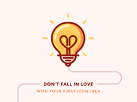 Your First Icon idea Is Not That Good bright lightning love idea lightbulb heart illustration outline icon bulb light