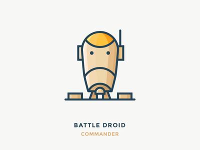 Battle Droid Commander vector fighter robot commander character wars star illustration outline icons droid battle