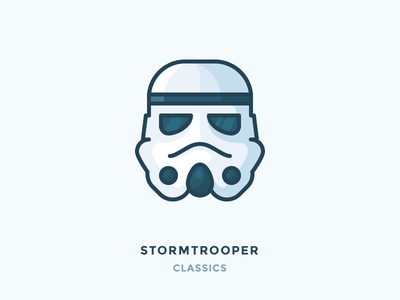 Stormtrooper Classics head shading flat outline vector illustration icon helmet trooper storm stormtrooper star wars