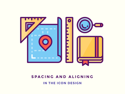 Even Spacing and Aligning in The Icon Design vector tutorial sketch book icon outline illustration pin ruler magnifying glass note book architectural plan