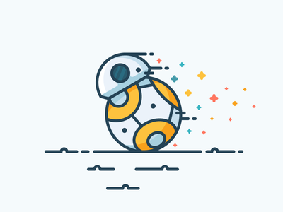 BB-8 artwork vector illustration icon outline fast bb-8 bb8 droid wars star star wars