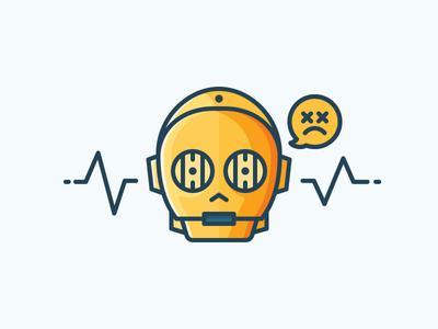 C-3PO - Golden Boy artwork vector illustration icon outline gold c-3po c3po droid wars star star wars