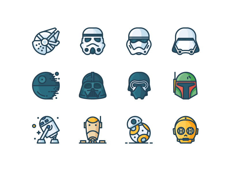 Star Wars Filled Icons c3po bb8 droid r2d2 boba fett kylo death star stormtrooper darth vader outline icons star wars
