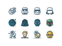 Star Wars Filled Icons c3po bb8 droid r2d2 boba fett kylo death star stormtrooper darth vader outline icons star wars