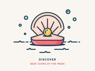 Best icons of the week! outline vector shell bubbles under water water sea illustration icon pearl
