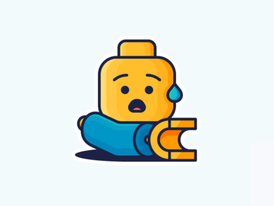 Lego Accident! constructor sticker mule surprised shocked hand illustration icon outline character arm sticker lego