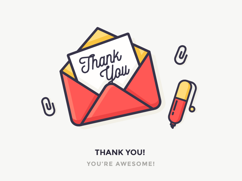 Thank You! greetings writing envelope paperclip clip postcard pen thank you illustration icon outline letter