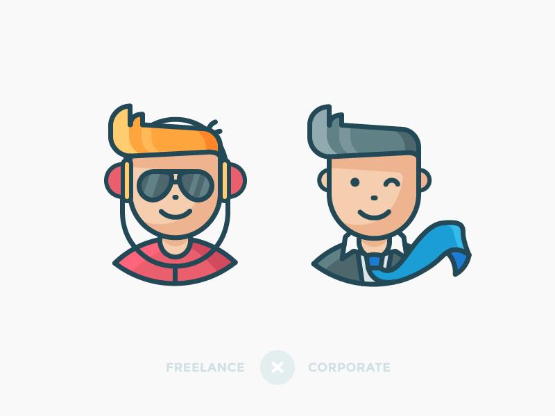 Freelance -x- Corporate glasses headphones suit tie people character avatar illustration outline icon corporate freelance