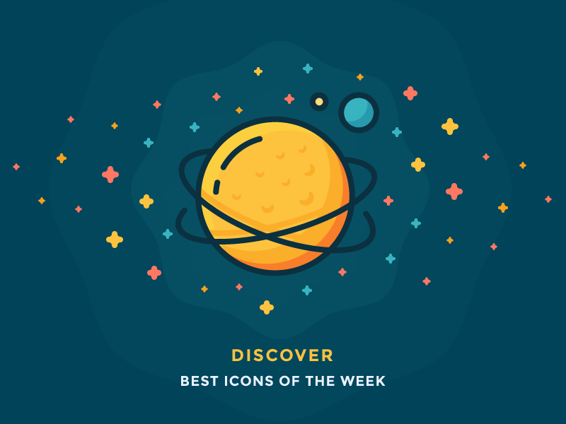 Best icons of the week! cosmos saturn colourful rings galaxy stars cheese planet space illustration outline icon