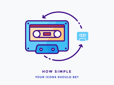 How Simple Your Icons Should Be rewind play glyph record music illustration outline icon casete vintage tape