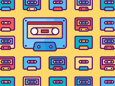 How Simple Your Icons Should Be? play record music colourful vintage outline illustration pattern casete icon tape