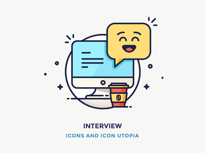 Interview computer thunderbolt coffee emoticon emoji interview chat vector outline illustration icon mac