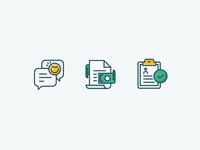 Kalo Icons documents outline icons emoji questionnaire clipboard money payment invoice message support chat