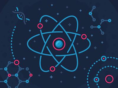 React Illustration physics chemistry orbit illustration outline icon core proton electron atom dna react
