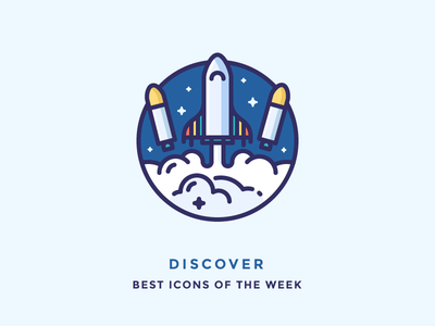 Best icons of the week! stars blast launch illustration outline icon discover smoke shuttle rocket space