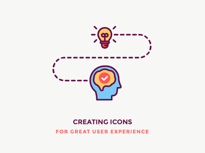 Great User Experience! think filled outline illustration icon user experience ux brain head lightbulb idea light