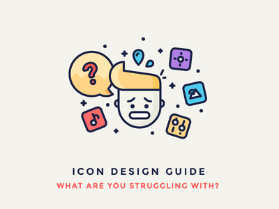 Icon Design Guide - I Need Your Help! character nervous note person picture questions filled outline stress illustration iconography icon
