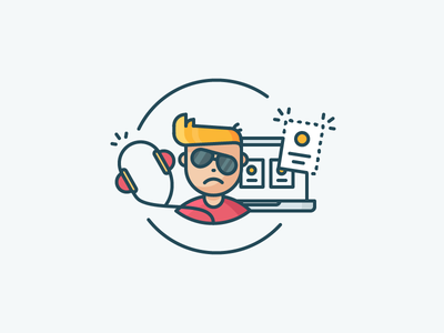 404 sad character confused person gone 404 headset freelancer illustration filled outline icon