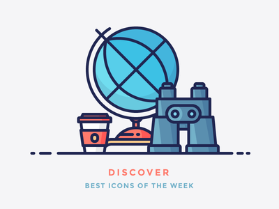 Best icons of the week! world cup coffee binoculars globe illustration filled outline icon discover