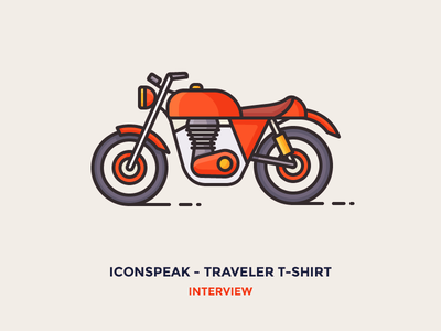Interview: ICONSPEAK – Traveler t-shirt line speed drive explore travel motorbike bike moto motorcycle illustration icon outline