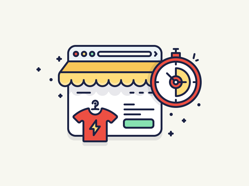 Launch eCommerce store oberlo clock time browser tshirt shop store ecommerce filled illustration outline icon