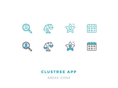 Clustree Icons scales calendar search user star filled iconography outline icons
