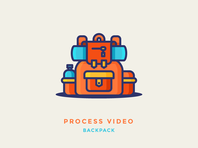 Backpack Process Video bag outdoors camping traveler cary travel backpack illustration iconography outline icon