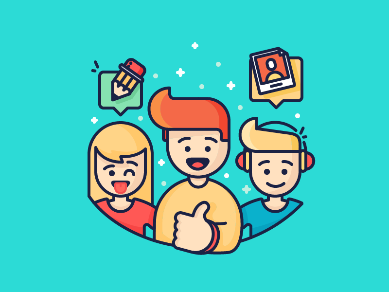 Helping Hands thumbs up girl boy people writer characters freelancers ecommerce filled illustration outline icon