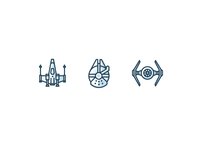 Star Wars Spaceships Fleet force awakens stroke line spaceship millennium falcon tie fighter x fighter star wars iconography outline icons