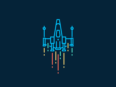X-Wing wings fly spaceship xwing star wars fast neon illustration iconography outline icon