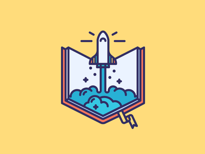 Book Rocket! fantasy reading space fly launch rocket shuttle book filled outline icon illustration