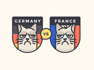 Germany or France?! badge soccer euro16 flag illustration france germany grumpy outline icon
