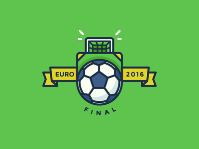 [Process Video] Euro 2016 Final Badge goal keeper game ribbon final ball soccer euro 2016 badge illustration outline icon
