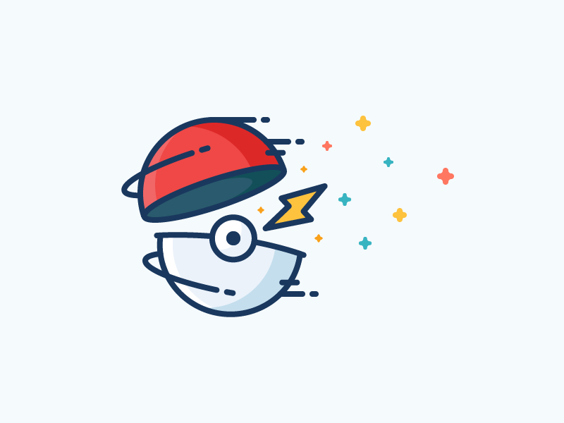 Pokeball! filled throw fast pikachu lightning pokemon go pokeball illustration outline icon pokemon