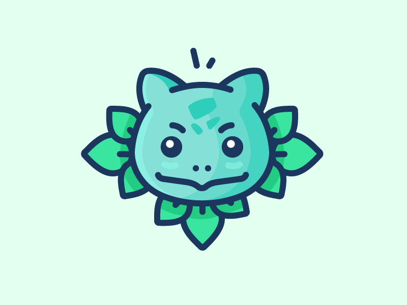 Bulbasaur! grass leafs iconography pokemon go pokemon bulbasaur illustration outline icon
