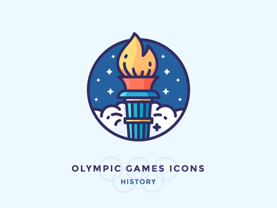 The History of the Olympic Games icons fire badge stars pictogram iconographgy games olympic torch filled illustration outline icon