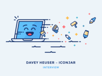 Interview: Davey Heuser – Iconjar mac laptop notebook fast emoji computer iconography outline icon illustration interview iconjar