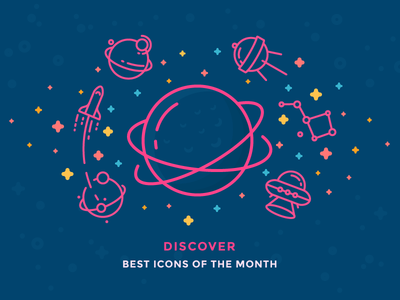 Best Icons of the Month! galaxy cosmos aliens ufo stars rocket outline space planet icon illustration
