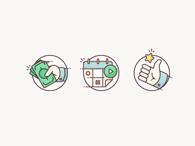 Lemonade Icons cash schedule star pay calendar thumbs up hand money iconography illustration outline icon