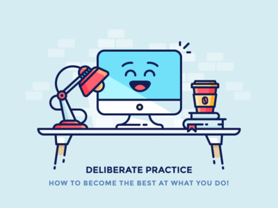 Deliberate Practice happy mac books lamp coffee computer workspace table filled outline illustration