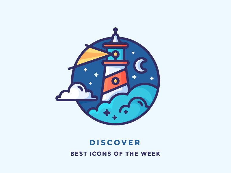 Discover best icons of the week! sailing discover badge ship moon light night sea lighthouse illustration outline icon
