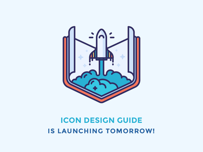 Icon Design Guide spaceship notebook smoke pages guide launch rocket outline illustration icon book