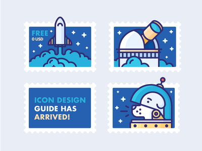 Icon Design Guide has Arrived! stars stamps post helmet space dog observatory rocket outline illustration icon