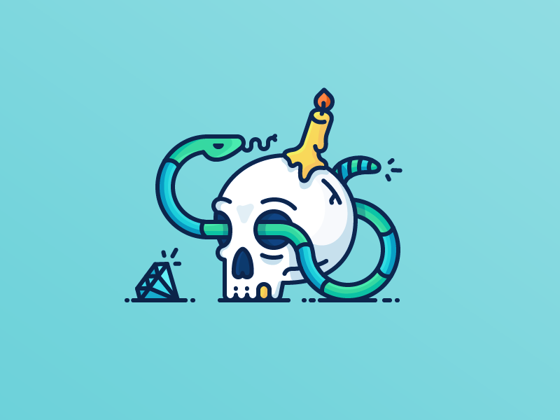 Best Icons of the Month! danger dead treasure diamond snake candle pirate skull illustration outline icon