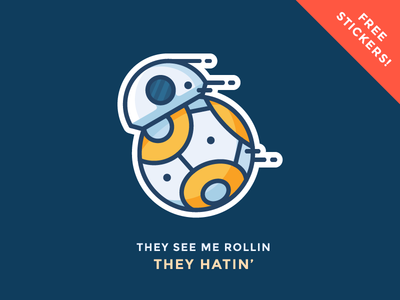 BB8 Sticker Giveaway!  character riding rolling free giveaway sticker droid bb8 star wars illustration outline icon