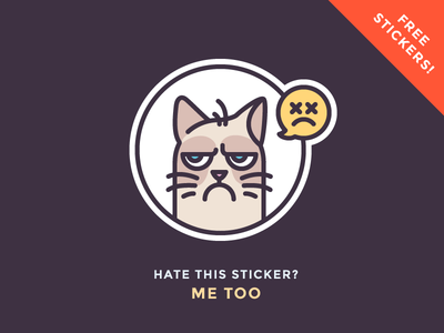 Grumpy Sticker Giveaway! chat giveaway free sticker angry sad emoji grumpy cat illustration outline icon