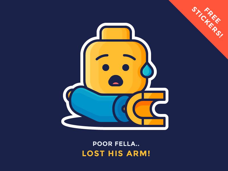Lego Sticker Giveaway! character hand broken emoji sticker stress arm shock lego illustration outline icon