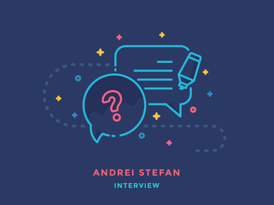 Interview: Andrei Stefan interview talk communication marker bubble question chat illustration outline icon